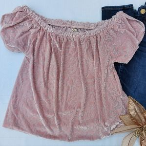 🌼3/30 Hollister Velvety Pink Off-Shoulder Top